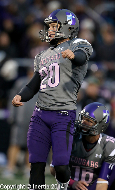 SIOUX FALLS, SD - OCTOBER 4: Bradley Hatfield #20 from the University of Sioux Falls splits the uprights on a field goal against Concordia St. Paul in the first half of their game Saturday evening at Bob Young Field.(Photo by Dave Eggen/Inertia)