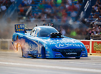 Jul 8, 2017; Joliet, IL, USA; NHRA funny car driver Tommy Johnson Jr during qualifying for the Route 66 Nationals at Route 66 Raceway. Mandatory Credit: Mark J. Rebilas-USA TODAY Sports