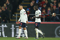 23rd November 2019; Selhurst Park, London, England; English Premier League Football, Crystal Palace versus Liverpool; Roberto Firmino of Liverpool celebrates his goal with Sadio Mane for 1-2 in the 85th minute - Strictly Editorial Use Only. No use with unauthorized audio, video, data, fixture lists, club/league logos or 'live' services. Online in-match use limited to 120 images, no video emulation. No use in betting, games or single club/league/player publications
