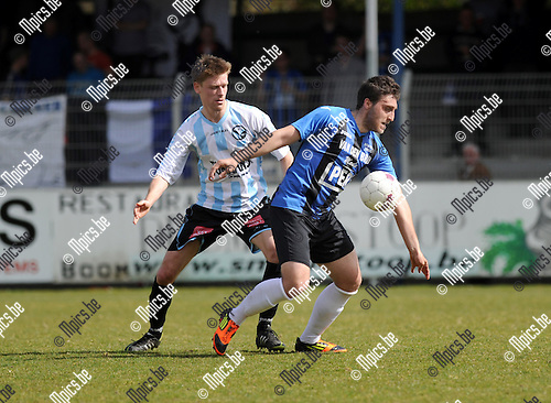 2013-04-14 / Voetbal / seizoen 2012-2013 / Rupel-Boom - Geel Meerhout / Serkan Kocaslan (R-B) met Jo Christiaens in de rug..Foto: Mpics.be