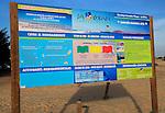 Notice sign of beach information La Oliva,, Corralejo, Fuerteventura, Canary Islands, Spain
