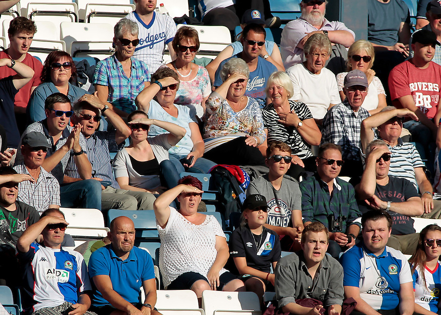 Blackburn Rovers fans shield their eyes from the sunshine during the game<br /> <br /> Photographer David Shipman/CameraSport<br /> <br /> The EFL Sky Bet Championship - Blackburn Rovers v Rotherham United - Saturday 17 September 2016 - Ewood Park - Blackburn<br /> <br /> World Copyright &copy; 2016 CameraSport. All rights reserved. 43 Linden Ave. Countesthorpe. Leicester. England. LE8 5PG - Tel: +44 (0) 116 277 4147 - admin@camerasport.com - www.camerasport.com