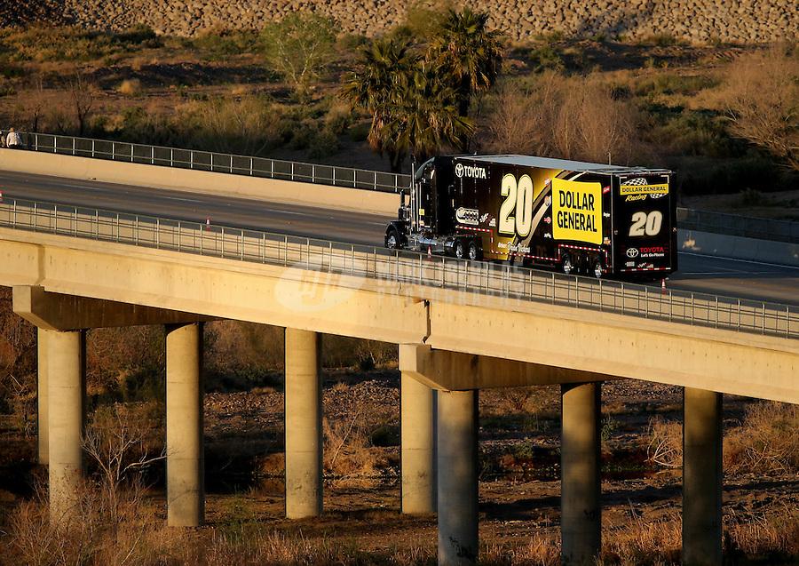 Mar. 2, 2013; Avondale, AZ, USA; The car hauler for NASCAR Nationwide Series driver Brian Vickers leaves the track following the Dollar General 200 at Phoenix International Raceway. Mandatory Credit: Mark J. Rebilas-