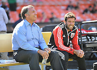 D. C. United head coach Ben Olsen with the Los Angeles Galay head coach Bruce Arena during pre-game warmups.  D.C. United tied the Los Angeles Galaxy 2-2, at RFK Stadium, Saturday September 14 , 2013.