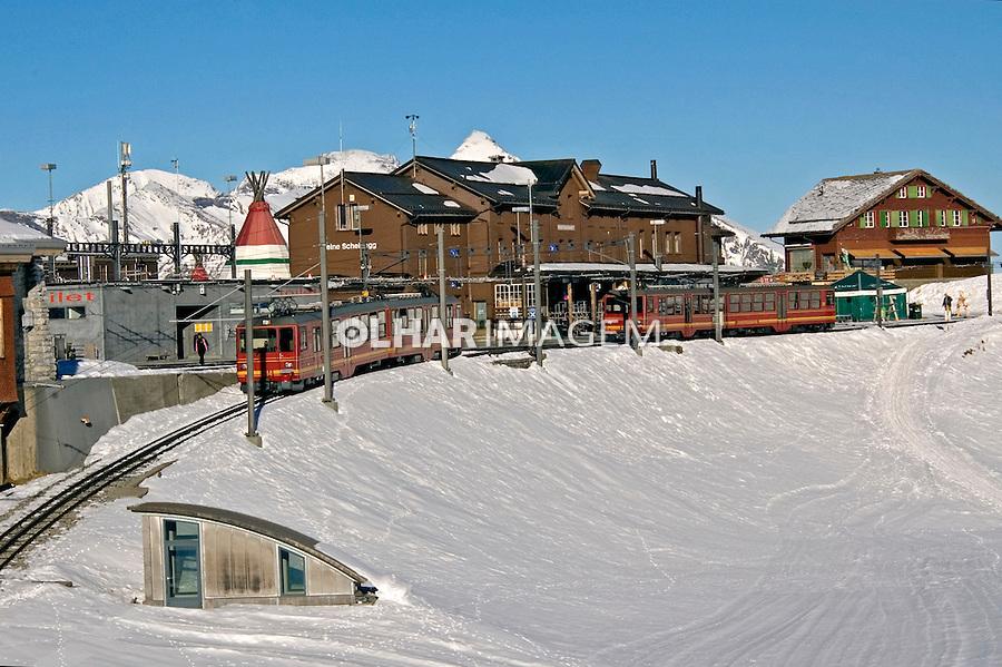 Estação de trem nas montanhas do Glaciar Jungfrau-Aletsch. Suiça. 2008. Foto de Cris Berger.