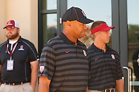 Stanford - September 13, 2014: David Shaw, head coach, before the Stanford vs Army football game Saturday afternoon at Stanford Stadium.<br /> <br /> Stanford won 35-0.