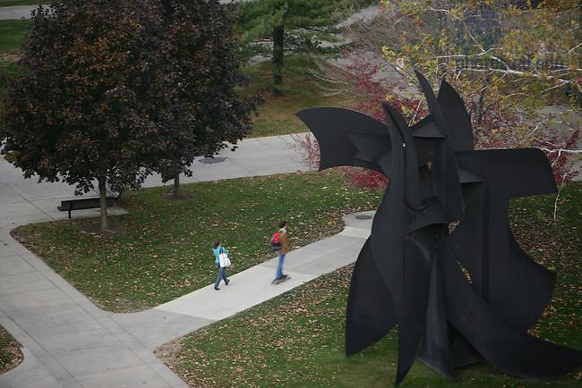Walking to class in front of the Snite