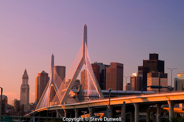 Zakim Bridge and skyline, sunrise, Boston, MA (Christian Menn = engineer)
