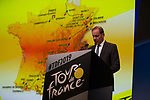 Christian Prudhomme, Tour Director, speaks at the Tour de France 2019 route presentation held at Palais de Congress, Paris, France. 25th October 2018.<br />