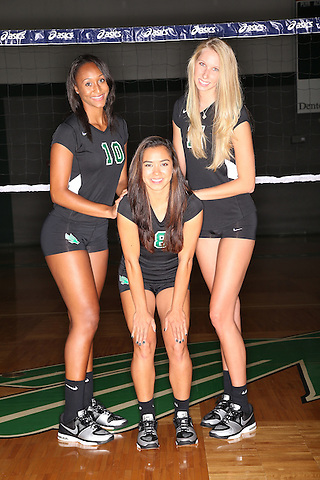 DENTON, TX - AUGUST 9:  Karissa Flack #10, Shelby Tamura #8 and Courtney Windham #11 at the Volleyball Athletic Complex in Denton, TX on August 9, 2013 in Arlington, Texas. (Photo by Rick Yeatts