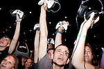 August 27, 2010. Raleigh, North Carolina.. Gamers celebrate the opening of competition. All competing players had to bring their own controllers to compete.. Major League Gaming (MLG), the league for professional videogame players, held their 50th Pro Circuit competition at the Raleigh Convention Center, with gamers from all over the country coming to for 3 days of competition in Halo 3, Tekken 6, Super Smash Bros. Brawl, Starcraft 2 and World of Warcraft.