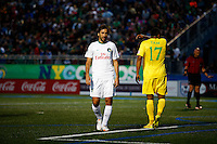 New York Cosmos player Raul (L ) reacts during his game against Tampa Bay Rowdies during the North American Soccer League in New York. Eduardo MunozAlvarez/VIEWpress 04/18/2015
