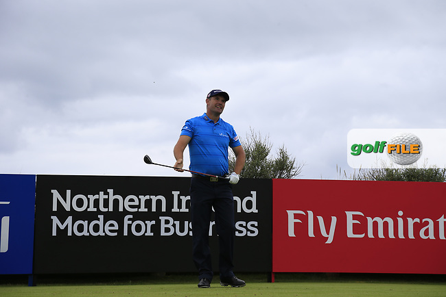 Padraig Harrington (IRL) on the 2nd tee during round 1 at the Dubai Duty Free Irish Open hosted by the Rory Foundation, at Portstewart Golf Club, Portstewart, Co. Derry, Northern Ireland.<br /> Picture: Golffile   Fran Caffrey<br /> <br /> <br /> All photo usage must carry mandatory copyright credit (&copy; Golffile   Fran Caffrey)