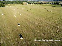 63801-11714 Hay bales in field-aerial Marion Co.  IL