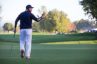 Ricky Fowler (Team USA) on the 4th green during the Saturday morning Foursomes at the Ryder Cup, Hazeltine national Golf Club, Chaska, Minnesota, USA.  01/10/2016<br /> Picture: Golffile | Fran Caffrey<br /> <br /> <br /> All photo usage must carry mandatory copyright credit (&copy; Golffile | Fran Caffrey)