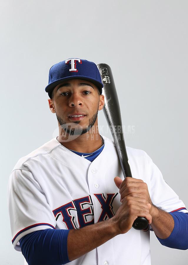 Feb. 20, 2013; Surprise, AZ, USA: Texas Rangers shortstop Leury Garcia poses for a portrait during photo day at Surprise Stadium. Mandatory Credit: Mark J. Rebilas-