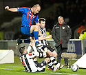CALEY'S ROSS TOKELY IS CHALLENGE ST MIRREN'S STEVEN THOMPSON AND PAUL MCGOWAN..03/12/2011   Copyright  Pic : James Stewart.sct_jsp021_st_mirren_v_ict  .James Stewart Photography 19 Carronlea Drive, Falkirk. FK2 8DN      Vat Reg No. 607 6932 25.Telephone      : +44 (0)1324 570291 .Mobile              : +44 (0)7721 416997.E-mail  :  jim@jspa.co.uk.If you require further information then contact Jim Stewart on any of the numbers above.........