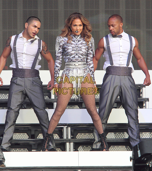 Jennifer Lopez <br /> performing at Barclaycard British Summertime, Hyde Park, London, England. <br /> 14th July 2013<br /> on stage in concert live gig performance music full length silver purple leotard backup dancers tights dancing singing j-lo <br /> CAP/ROS<br /> &copy;Steve Ross/Capital Pictures