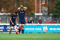 James Tyas of London Scottish shows his disappointment after todays loss during the Greene King IPA Championship match between London Scottish Football Club and Doncaster Knights at Richmond Athletic Ground, Richmond, United Kingdom on 30 September 2017. Photo by Jason Brown / PRiME Media Images.