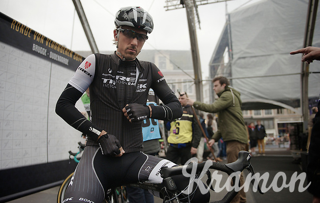 Fabian Cancellara (CHE/TrekFactoryRacing) on the start podium in Bruges<br /> <br /> Ronde van Vlaanderen 2014