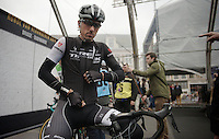 Fabian Cancellara (CHE/TrekFactoryRacing) on the start podium in Bruges<br /> <br /> Ronde van Vlaanderen 2014