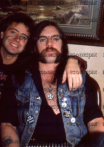 MOTORHEAD - Phil Campbell and Lemmy photographed in Reading UK - 06 Nov 1984.  Photo credit: Georges Amann/Dalle/IconicPix