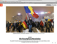 German weekly magazine DER SPIEGEL on the anti-corruption demonstrations in Bucharest, Romania. 02.2017.<br />
