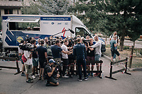 Marcel Kittel (DEU/QuickStep Floors) giving an improvised press conference at the team hotel because of his leaving the Tour after having crashed out of the race earlier in the day<br /> <br /> 104th Tour de France 2017<br /> Stage 17 - La Mure › Serre-Chevalier (183km)