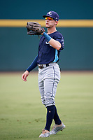 Charlotte Stone Crabs left fielder Miles Mastrobuoni (5) during warmups before a game against the Bradenton Marauders on June 3, 2018 at LECOM Park in Bradenton, Florida.  Charlotte defeated Bradenton 10-1.  (Mike Janes/Four Seam Images)