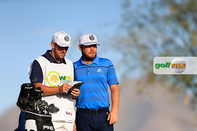 Tyrrell Hatton (ENG) on the 12th tee during the 2nd round of the Waste Management Phoenix Open, TPC Scottsdale, Scottsdale, Arisona, USA. 01/02/2019.<br /> Picture Fran Caffrey / Golffile.ie<br /> <br /> All photo usage must carry mandatory copyright credit (&copy; Golffile | Fran Caffrey)