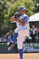 J.J. Hoover #50  of the Myrtle Beach Pelicans pitching in a game against the Wilmington Blue Rocks on April 11, 2010  in Myrtle Beach, SC.