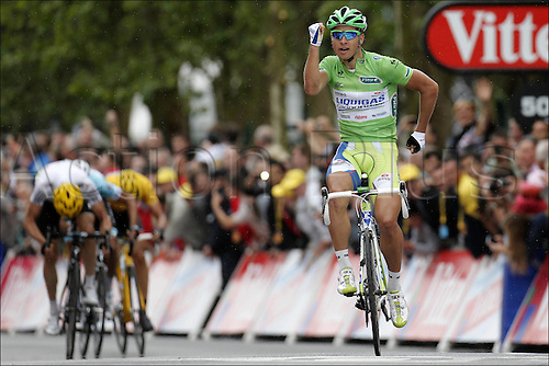 03.07.2012. Orchies, France. Tour de France, Stage 3. Orchies - Boulogne sur MerLiquigas 2012, Peter Sagan crosses the finish line in Boulogne sur Mer as the winner of the stage.