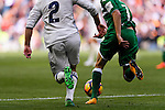 Daniel Carvajal Ramos of Real Madrid battles for the ball with Darwin Machis of Deportivo Leganes during their La Liga match between Real Madrid and Deportivo Leganes at the Estadio Santiago Bernabéu on 06 November 2016 in Madrid, Spain. Photo by Diego Gonzalez Souto / Power Sport Images