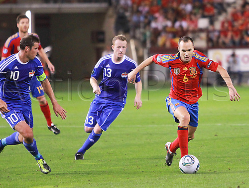 06.09.2011 European 2012 Qualification from the Estadio Las Gaunas in Logrono. Spain v Liechtenstein. Picture shows Andres Iniesta.