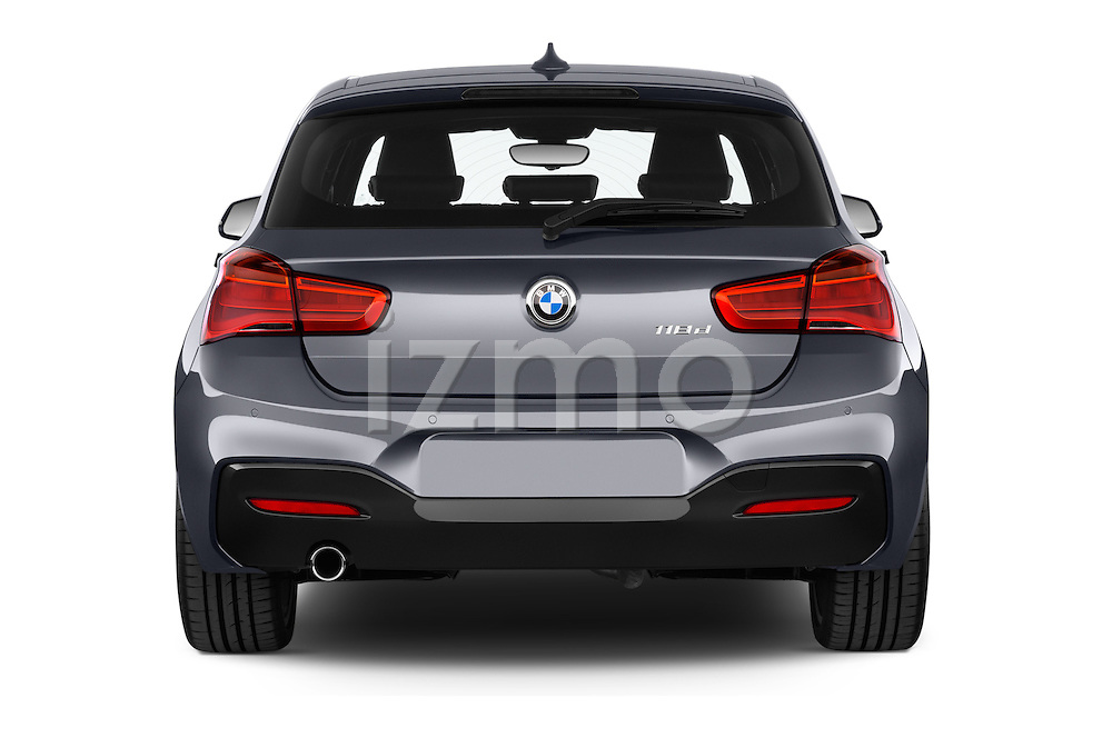 Straight rear view of a 2015 BMW 1 Series M Sport 5 Door Hatchback Rear View  stock images