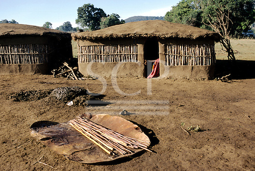 Lolgorian, Kenya. Siria Maasai Manyatta; adobe mud walled houses with dung pile, cow hide and sticks prepared for building.