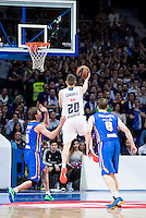 Real Madrid's Jaycee Carroll and Khimki Moscow's Egor Vyaltsev and Petteri Koponen during Euroleague match at Barclaycard Center in Madrid. April 07, 2016. (ALTERPHOTOS/Borja B.Hojas) /NortePhoto