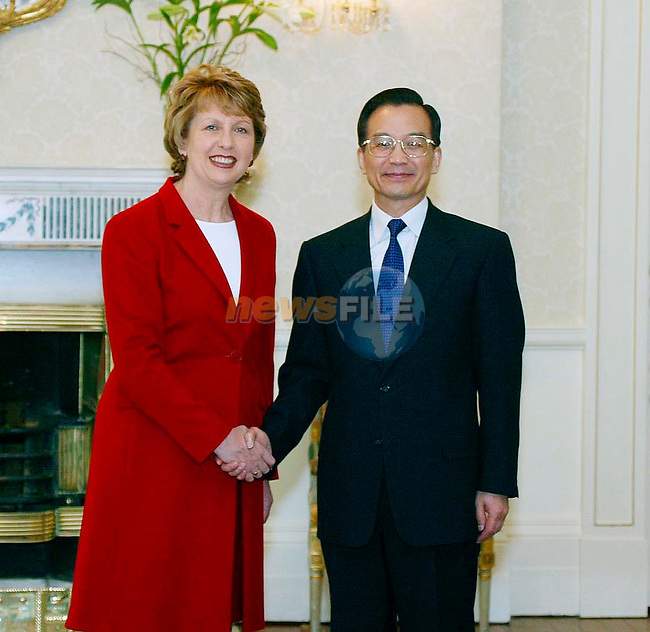 CHINESE PREMIER VISITS  IRISH PRESIDENT    12-5-04.THE CHINESE PREMIER, MR WEN JIABAO IS ON A TWO DAY STATE VISIT TO IRELAND..PICTURE SHOWS PRESIDENT MARY MCALEESE WITH   H.E. MR WEN JIABAO, PREMIER OF THE STATE COUNCIL OF THE PEOPLE'S REPUBLIC OF CHINA AT ARAS AN UACHTARAIN..PIC:MAXWELLS-NO FEE
