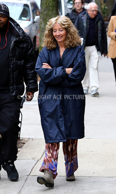 WWW.ACEPIXS.COM<br /> <br /> March 15 2016, New York City<br /> <br /> Actress Emma Thompson was on the set of the new movie 'The Meyerowitz Stories' on March 15 2016 in New York City<br /> <br /> By Line: Zelig Shaul/ACE Pictures<br /> <br /> <br /> ACE Pictures, Inc.<br /> tel: 646 769 0430<br /> Email: info@acepixs.com<br /> www.acepixs.com