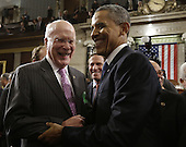 United States Senator Patrick Leahy (Democrat of Vermont) greets U.S. President Barack Obama after the President gave his State of the Union address during a joint session of Congress on Capitol Hill in Washington, DC on February 12, 2013.     .Credit: Charles Dharapak / Pool via CNP