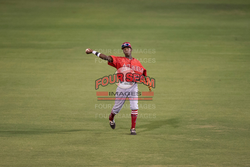 AZL Angels second baseman Daniel Ozoria (23) makes a throw to second base during an Arizona League game against the AZL Padres 2 at Tempe Diablo Stadium on July 18, 2018 in Tempe, Arizona. The AZL Padres 2 defeated the AZL Angels 8-1. (Zachary Lucy/Four Seam Images)
