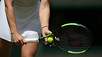 A close-up of the grip of Simona Halep(ROU) during her match against Aliaksandra Sasnovich (BLR) in their Ladies' Singles First Round match<br /> <br /> Photographer Rob Newell/CameraSport<br /> <br /> Wimbledon Lawn Tennis Championships - Day 1 - Monday 1st July 2019 -  All England Lawn Tennis and Croquet Club - Wimbledon - London - England<br /> <br /> World Copyright © 2019 CameraSport. All rights reserved. 43 Linden Ave. Countesthorpe. Leicester. England. LE8 5PG - Tel: +44 (0) 116 277 4147 - admin@camerasport.com - www.camerasport.com