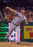 6 August 2016: San Francisco Giants pitcher Hunter Strickland on the mound against the Washington Nationals at Nationals Park in Washington, DC. The Giants defeated the Nationals 7-1 to even their series at one game apiece. Mandatory Credit: Ed Wolfstein Photo *** RAW (NEF) Image File Available ***