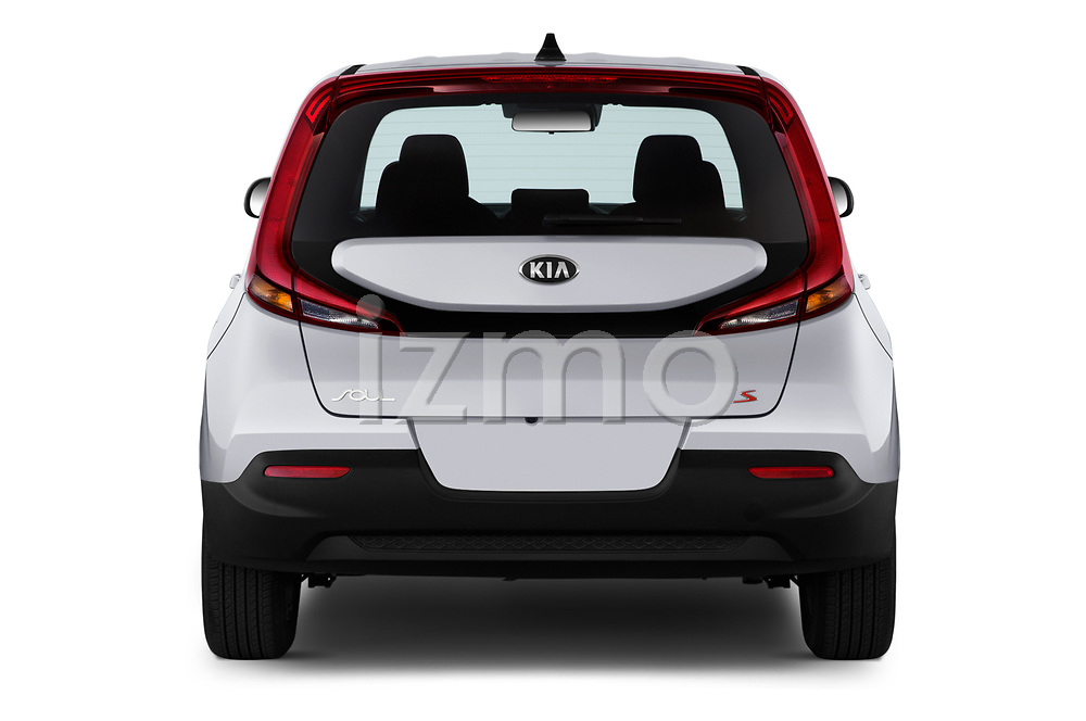 Straight rear view of 2020 KIA Soul S 5 Door Hatchback Rear View  stock images