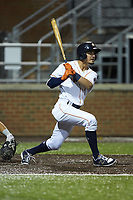Josh Rojas (1) of the Buies Creek Astros follows through on his swing against the Frederick Keys at Jim Perry Stadium on April 28, 2018 in Buies Creek, North Carolina. The Astros defeated the Keys 9-4.  (Brian Westerholt/Four Seam Images)