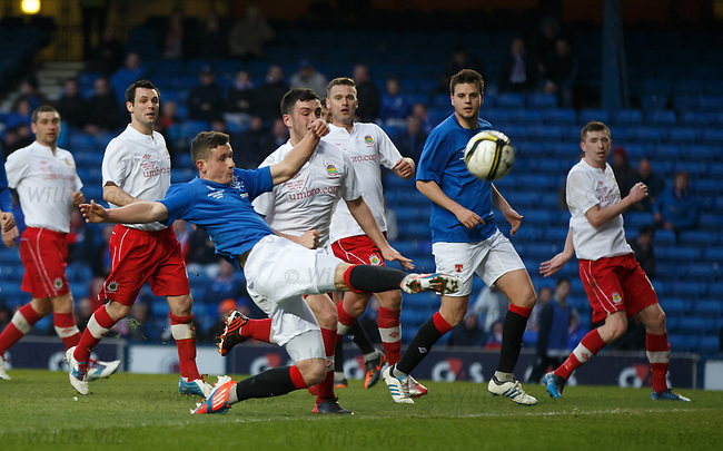 Fraser Aird comes close to opening the scoring but his shot grazes the bar