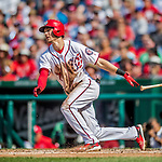 29 June 2017: Washington Nationals infielder Trea Turner singles in the 3rd inning against the Chicago Cubs at Nationals Park in Washington, DC. The Cubs rallied against the Nationals to win 5-4 and split their 4-game series. Mandatory Credit: Ed Wolfstein Photo *** RAW (NEF) Image File Available ***