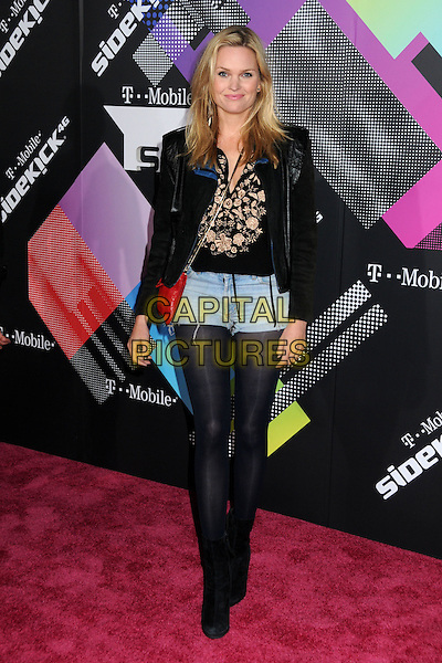 SUNNY MABREY .The T-Mobile Sidekick 4G Launch Party held at a private lot in Beverly Hills, California, USA..April 20th 2011.full length black denim shorts tights ankle boots red bag jacket .CAP/ADM/BP.©Byron Purvis/AdMedia/Capital Pictures.