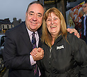 First Minister Alex Salmond with first time voter, 61 year old Francis Smith whilst on the campaign trail in Inverurie.