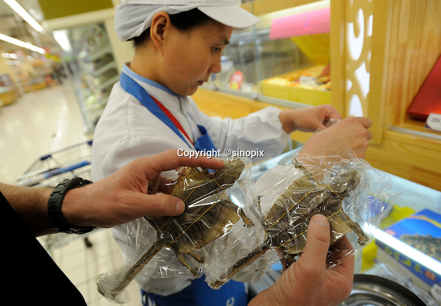 Simon Perry buying dried lizards in Qingdao Tesco in Qingdao, Shandong province, China. 11-Nov-2010